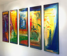 "'A New Day' - Purple, Red, Green, Blue and Yellow Pentaptych 60"" X 36"" Original Abstract  Paintings."