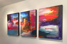 "Abstract view  - blue, yellow, purple, red,  black and white 48"" X 20"" triptych Original Paintings ."