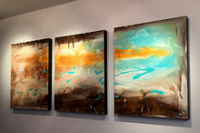 "Autumn song - blue, yellow, brown,  and white 48"" X 20"" triptych Original Paintings ."