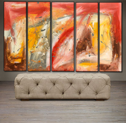 'Autumn Dawn' -  brown, yellow, red, and gray  pentaptych 50