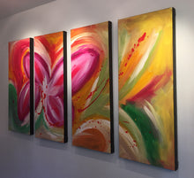 "'Beautiful Sight' - red, pink, green  and yelllow  tetraptych 48"" X 30"" Original  Art."