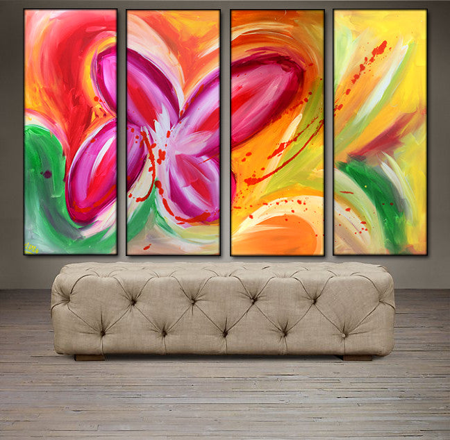 'Beautiful Sight' - red, pink, green  and yelllow  tetraptych 48