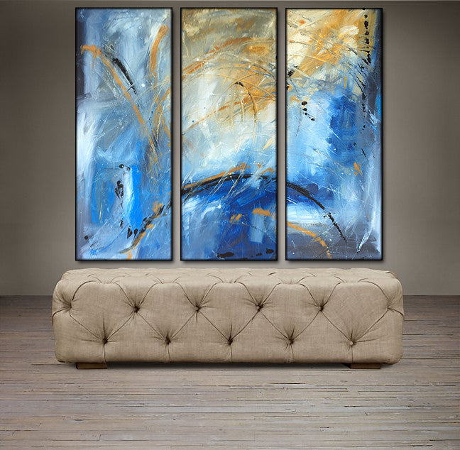 'Beautiful Skies'- black, blue, yellow and white triptych 36