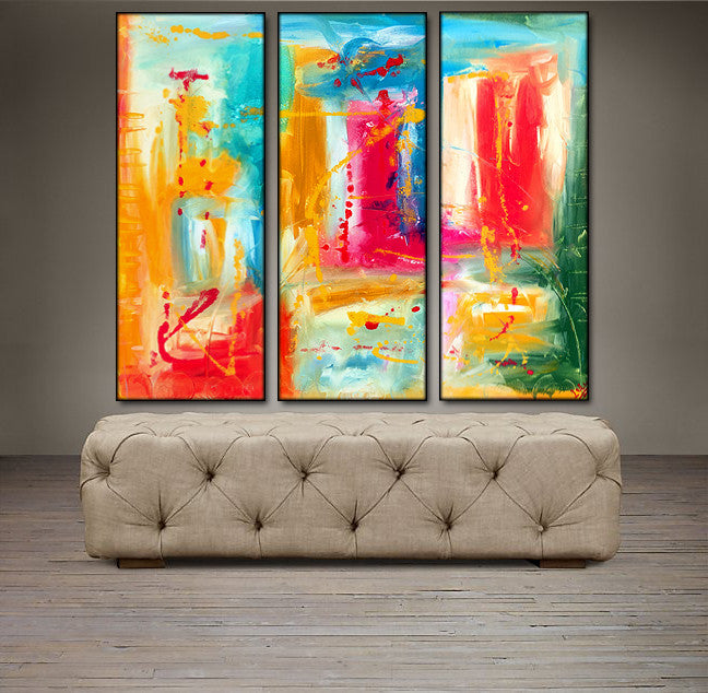 'Beautiful Spring ' - blue, yellow, green and red triptych 36