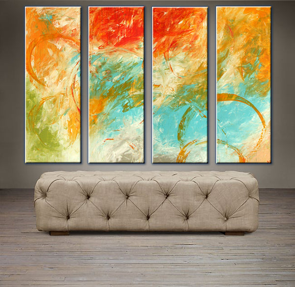 "'Fall Sky' - 40"" X 30"" Original Abstract  Art."