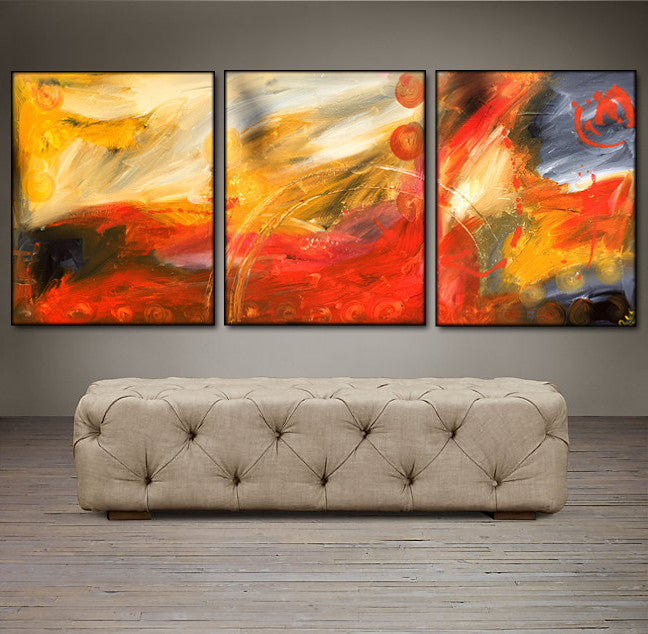'Fire Without'-  red, yellow and black triptych 48