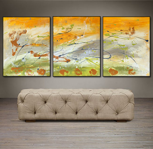 "'First Light'  - yellow, gray, green and white triptych 48"" X 20"" Original Abstract Paintings."