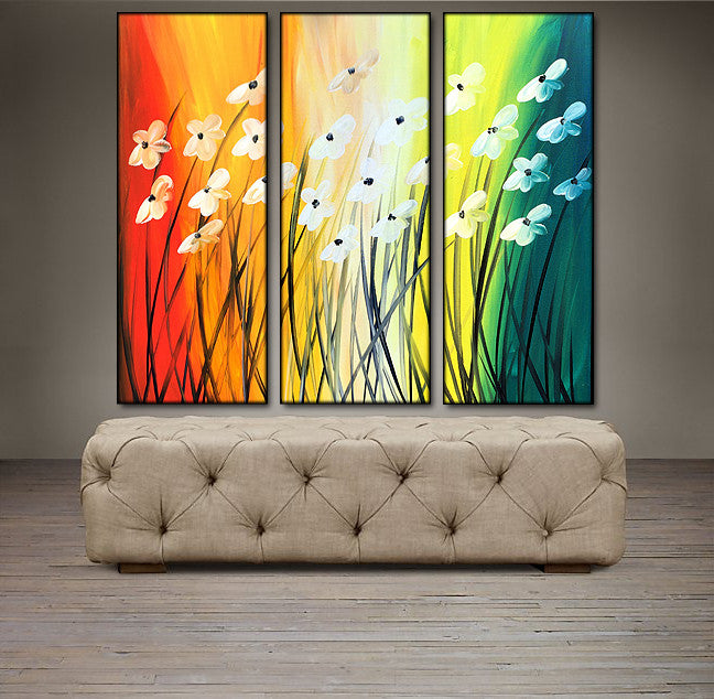 'Floral IX'-red, orange, yellow and green triptych 36