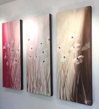 "'Floral VI' - red, pink, brown and white triptych  36"" X 30"" Original Abstract  Art."