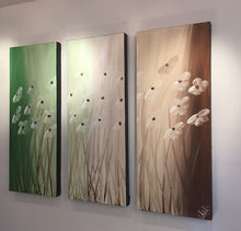 "'Floral VII' - Green, brown and white triptych 36"" X 30"" Original Abstract Art."