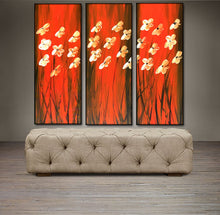 "'Floral VIII'- Red, Black and White Triptych 36"" X 36"" Original  Floral Art."