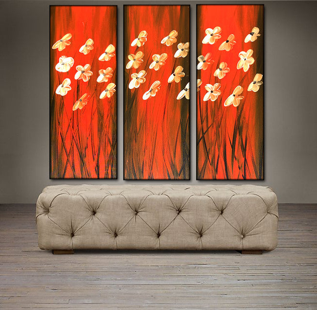 'Floral VIII'- Red, Black and White Triptych 36