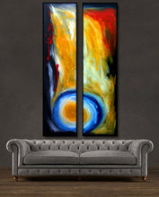 "'Moonlight' - 48"" X 24"" Original Abstract Art . Free shipping within USA & 30 day return policy. - Lulu's Gallery of Fineart"