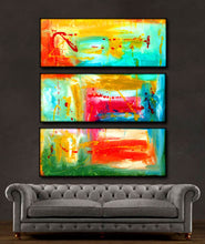 "'Beautiful Spring ' - blue, yellow, green and red triptych 36"" X 30"" Original Art."