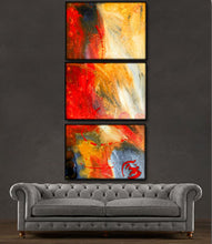 "'Fire Without'-  red, yellow and black triptych 48"" X 20"" Original Abstract  Paintings."