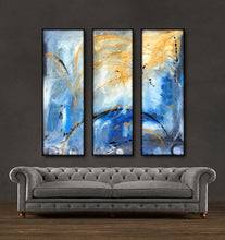 "'Beautiful Skies'- black, blue, yellow and white triptych 36"" X 36"" Original Art."