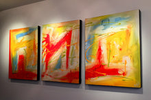 "'Sunday Bliss'  -yellow, red, orange, white and blue triptych  48"" X 20"" Original Abstract Paintings."