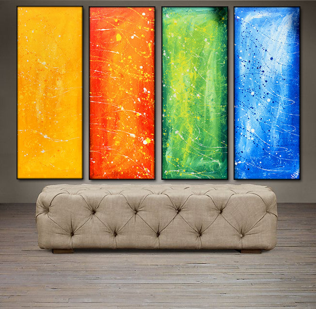 'Sunny and bright' -yellow, orange, green and blue tetraptych 48