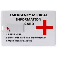 Medical Info USB Storage Credit Card