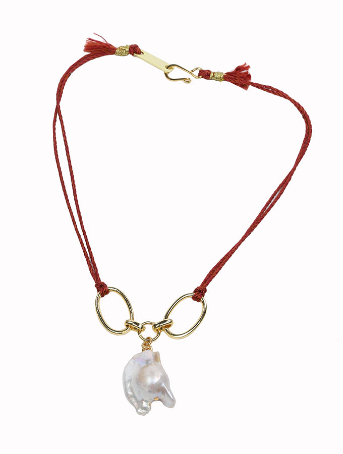 La Perla Necklace with Red Cord