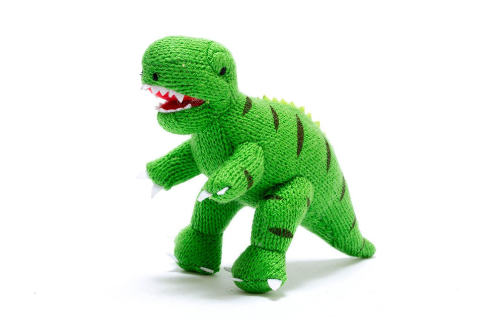TERRY T REX - soft knitted toy for kids and toddlers.