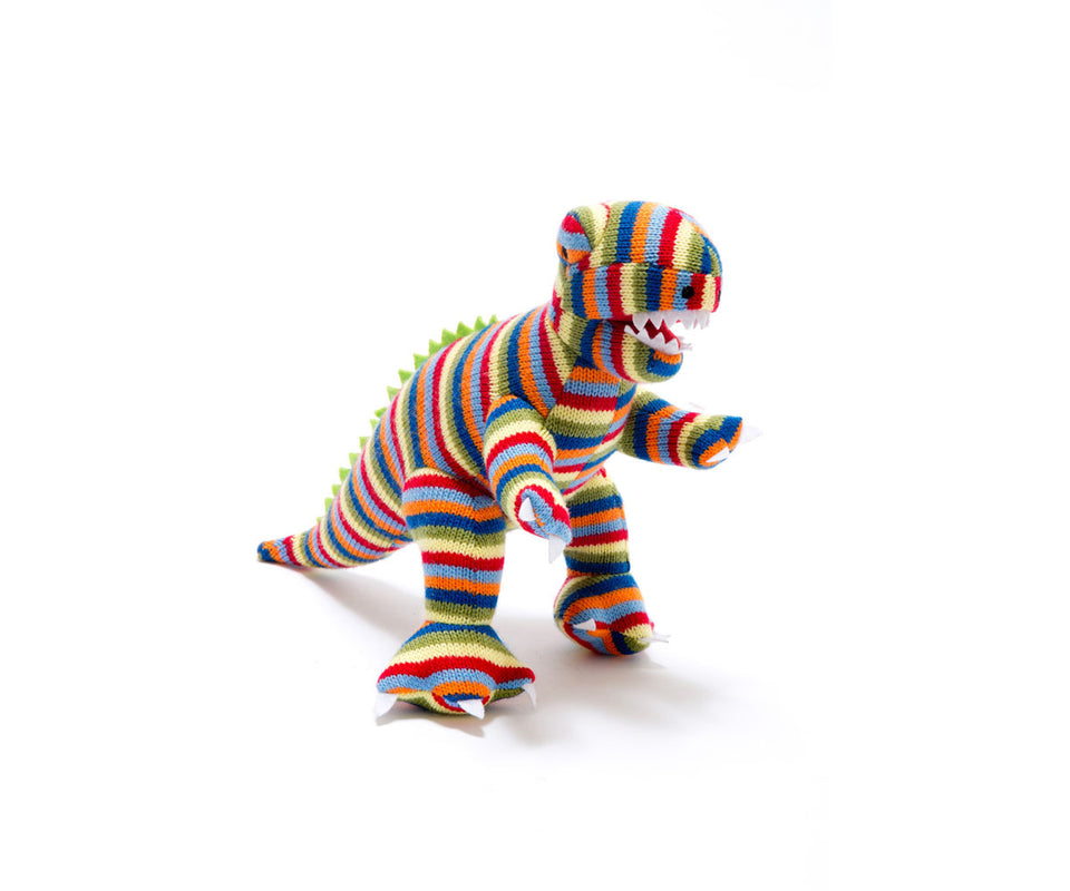 Stripy T Rex Knitted Dinosaur Rattle Toy