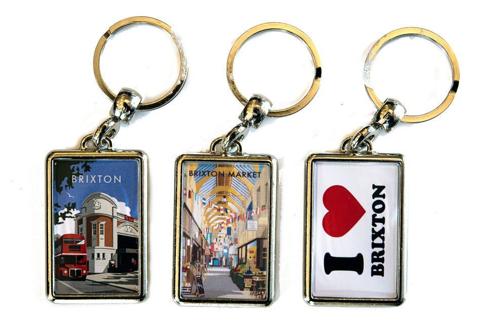 3 keyrings with local screen printed scenes in Lambeth London