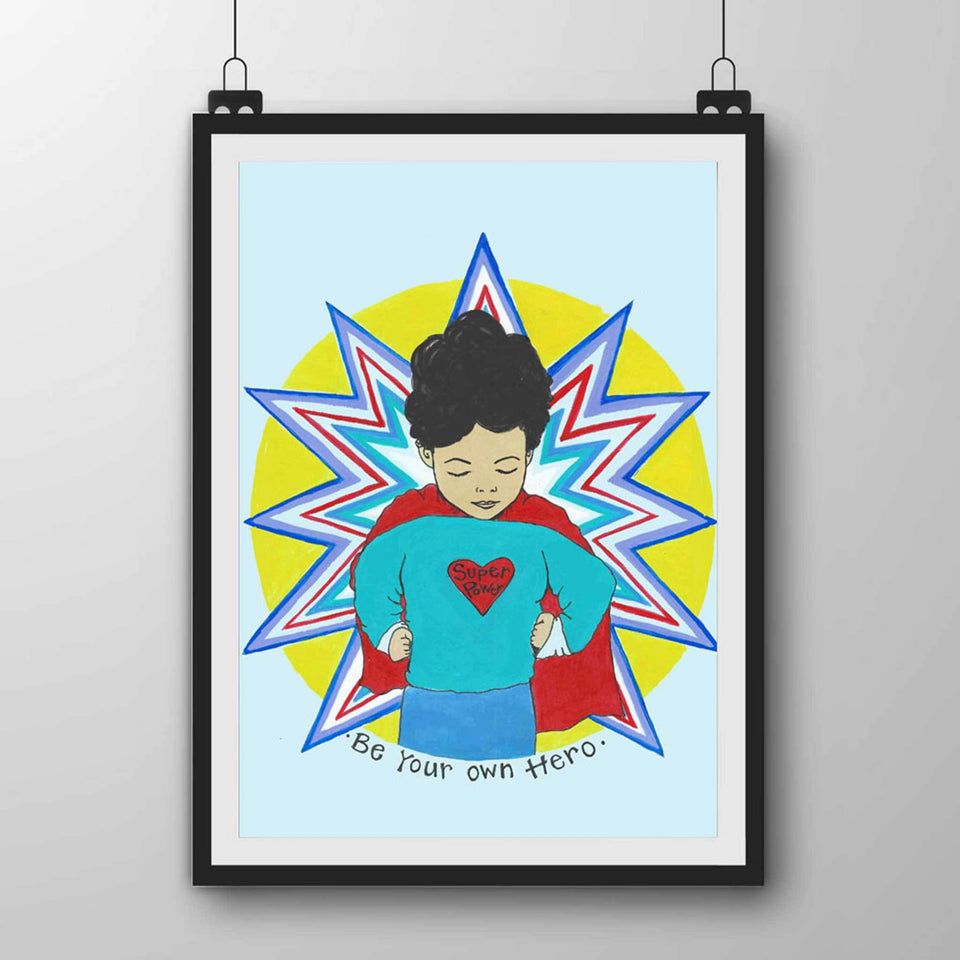 Self Love Art, Positive Art Prin, Art for kids bedroom, boy Print, Children's funky Art Print, cape