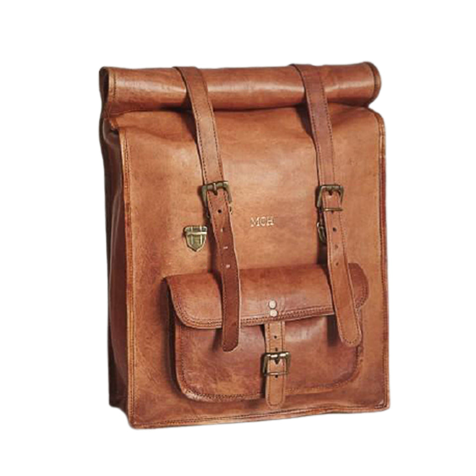 Leather rolltop rucksack