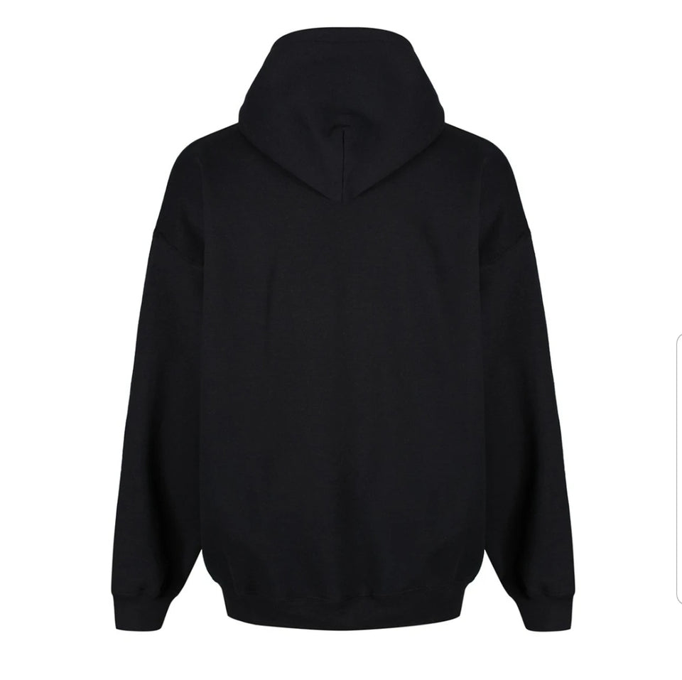 Back view Brixton Hoodie - Black Heavy Cotton with Brixton across front.