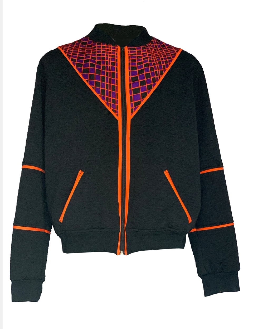 Black Bomber Jacket, quilted, orange, black and purple - Cotton print insert by Etia Design