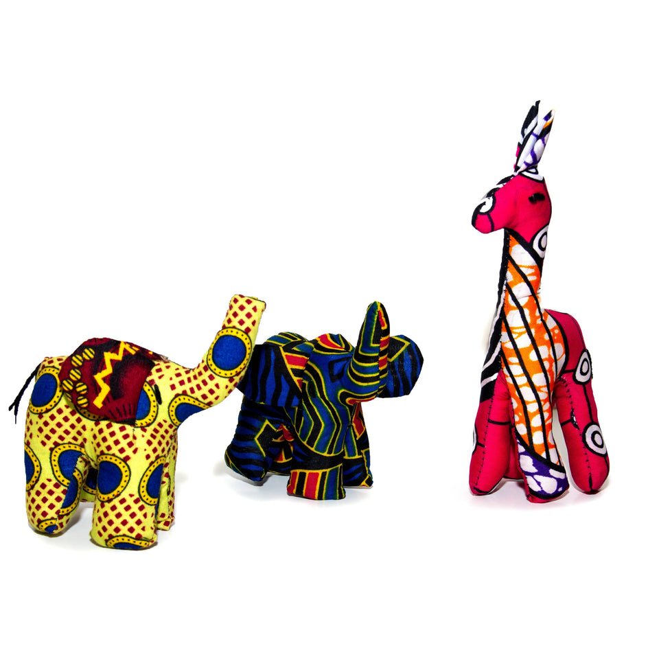 Soft Toy, Elephant, Animal, African Fabric, Small