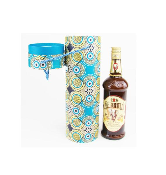 African Print Wine Bottle Gift Tube