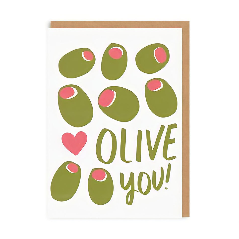 Olive you - cute and funny Valentine Card illustration