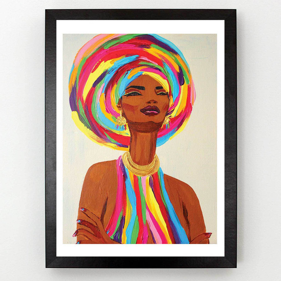Rainbow Head Tie Queen Art Print