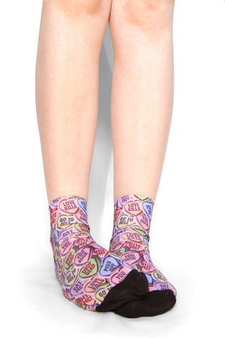 Love heart ankle socks