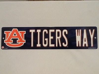 "Auburn Tigers Street Sign NEW! 4""X16"" ""Tigers Way"" Man Cave NCAA SEC"