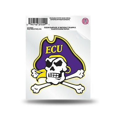 East Carolina Pirates Static Cling Sticker NEW!! Window or Car! NCAA