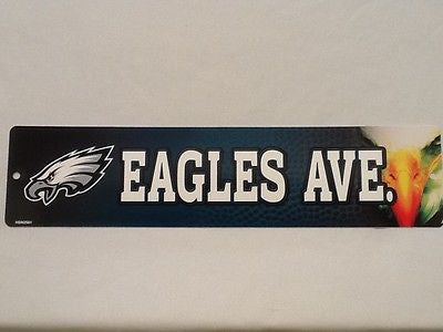 "Philadelphia Eagles Street Sign NEW! 4""X16"" ""Eagles Ave."" Man Cave NFL NEW!"