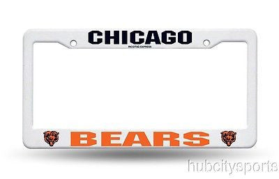 Chicago Bears White Plastic License Plate Frame NEW NFL