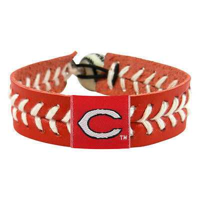 Cincinnati Reds Team Color Baseball Leather Bracelet NEW! Free Shipping! MLB