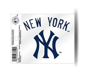New York Yankees NY Logo Wordscript Navy Static Cling Sticker NEW! Window or Car