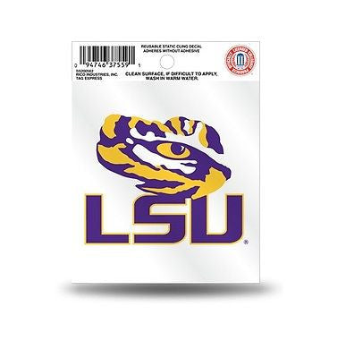 LSU Tigers Logo Static Cling Sticker NEW!! Window or Car! NCAA SEC