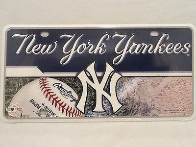 New York Yankees Logo Aluminum License Plate NEW!! MLB