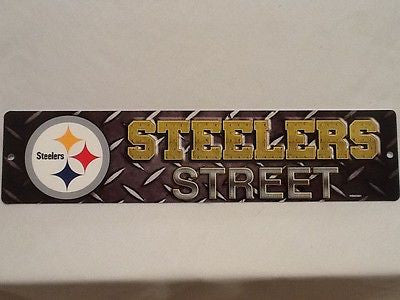 "Pittsburgh Steelers Street Sign NEW!!! 4""X16"" ""Steelers Street"" Man Cave NFL"
