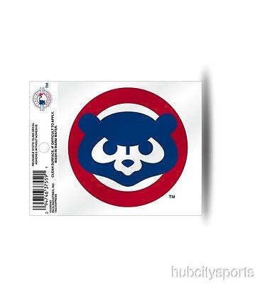 Chicago Cubs Bear Face Logo Static Cling Decal for Window Free Shipping NEW! MLB