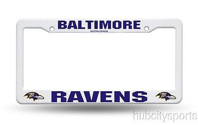Baltimore Ravens White Plastic License Plate Frame NEW NFL
