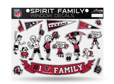 Houston Texans Spirit Family Window Decals 8 X 11 NEW! Car Window NFL