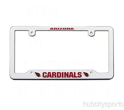 Arizona Cardinals White Plastic License Plate Frame NEW NFL