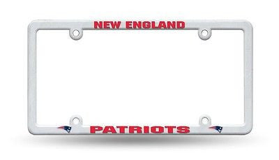New England Patriots White Plastic License Plate Frame NEW! NFL